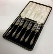 A cased set of six silver cake forks. Sheffield. A