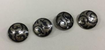 A rare set of four Russian Niello silver buttons o