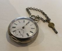 A silver open faced pocket watch. Approx. 115 gram