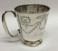 An Edwardian silver tapering christening cup. Birm