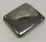 A good Edwardian silver engraved cigar case. Birmi