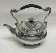 A heavy silver kettle with gadroon rim. London. By