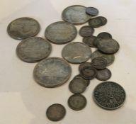 A bag containing silver coins. Approx. 190 grams.