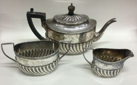 A good Victorian silver half fluted tea service. S