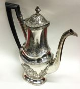PORTUGAL: A heavy scroll decorated silver coffee p