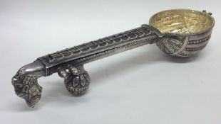 An unusual large Indian silver model of a mandolin