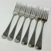 A set of six OE pattern silver dessert forks with