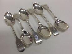 A matched set of six fiddle pattern silver dessert
