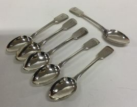 A set of six fiddle pattern silver teaspoons. Lond