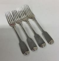 EXETER: A set of four silver fiddle pattern desser