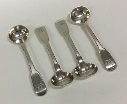 A heavy set of four fiddle pattern silver salt spo