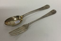 An Edwardian silver christening spoon and fork. Lo