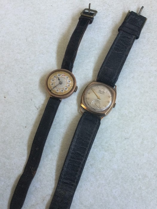Two gold mounted wristwatches. Est. £30 - £50.