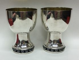A rare unusual pair of modernistic silver goblets