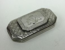 A rare hinged top Georgian silver snuff box engrav