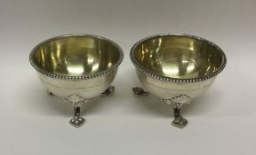 A good pair of Victorian silver beaded salts. Lond