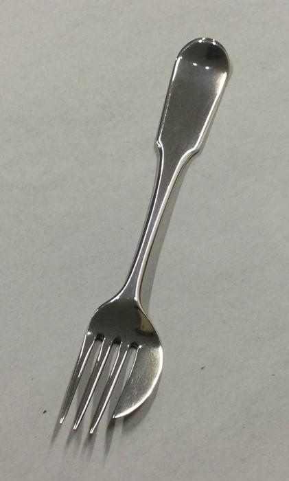 An unusual George III silver fork. London 1809. By