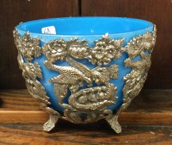 A silver plated and opaque glass sugar bowl. Est.