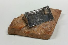 A silver model of a farmhouse on resin base. 925 s