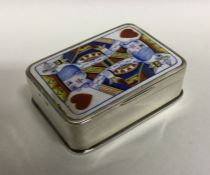 An unusual Edwardian silver and enamelled playing