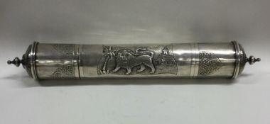 A large cast silver Judaica scroll holder attracti