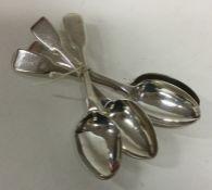 A heavy set of four fiddle pattern silver teaspoon