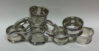 A good collection of silver napkin rings. Various