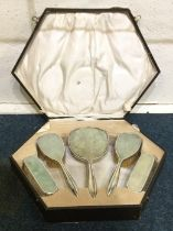 A cased five piece silver and shagreen dressing ta