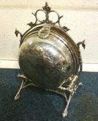 A good Edwardian silver plated engraved entrée dis