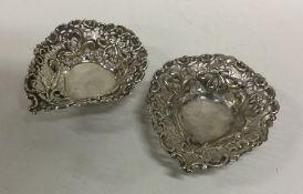 A pair of Edwardian silver heart shaped bonbon dis