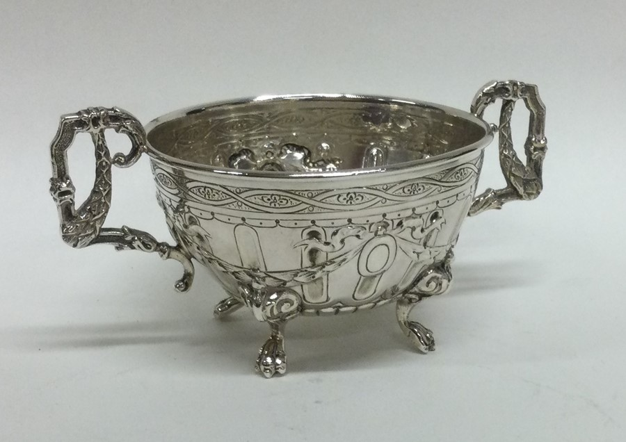 A good quality chased silver basket bearing import - Image 2 of 2