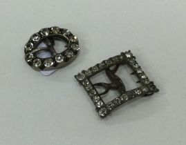 Two silver mounted and paste buckles. Approx. 11 g