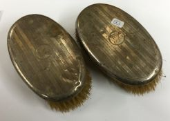A pair of engine turned silver brushes. Birmingham