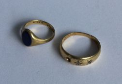 A small 18 carat gold signet ring together with a