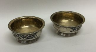 A good pair of Russian Niello and silver salts on