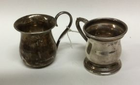 Two miniature silver christening cups. London. App