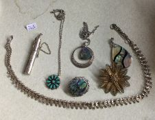A silver mounted collar together with other costum