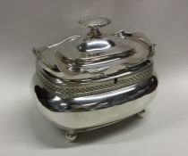 A good George II silver tea caddy / biscuit box wi