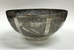 A good quality Indian pierced silver bowl. Approx.