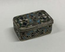 A Continental silver and enamelled box decorated w