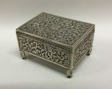 A good Antique silver jewellery box profusely embo