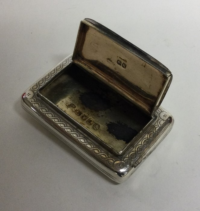 A George III bright cut silver snuff box with hing - Image 3 of 3
