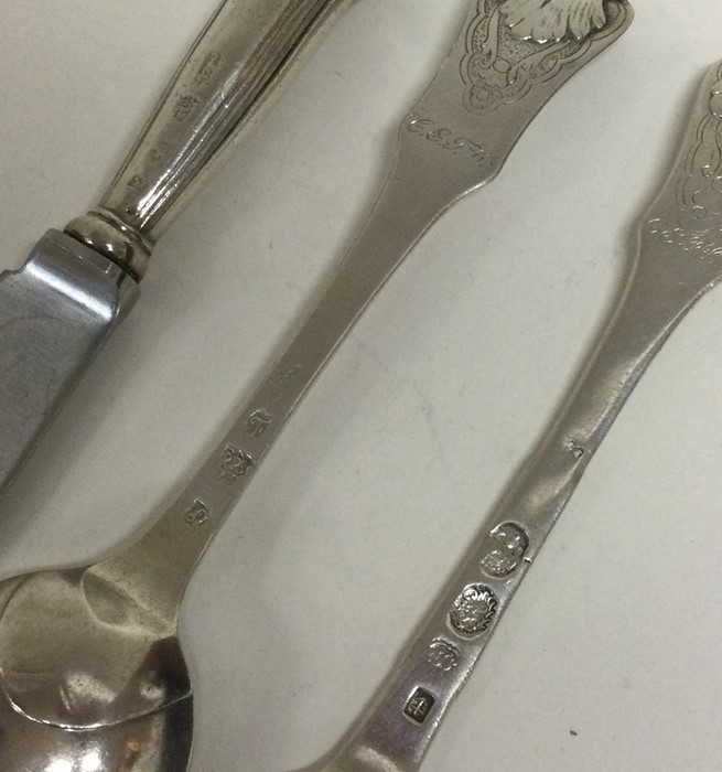 A rare 18th Century silver travelling knife, fork - Image 2 of 3