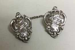 A silver Judaica double click mounted with Stars o