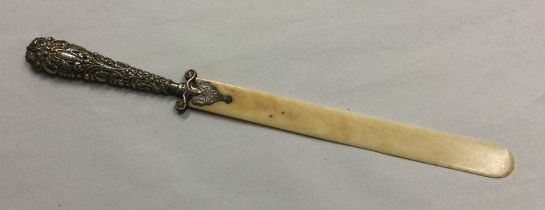 A silver and ivory handled letter opener. Birmingh