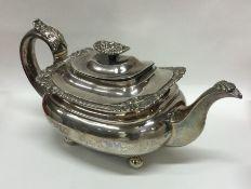 A good Georgian silver teapot with cast border. Lo