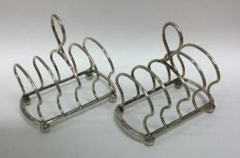 A good pair of silver five bar toast racks on ball