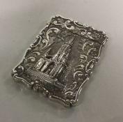 A good cast silver castle top card case depicting