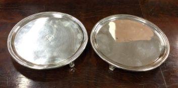 EDINBURGH: A rare pair of circular silver salvers