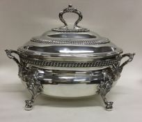 A good large oval Victorian silver soup tureen wit